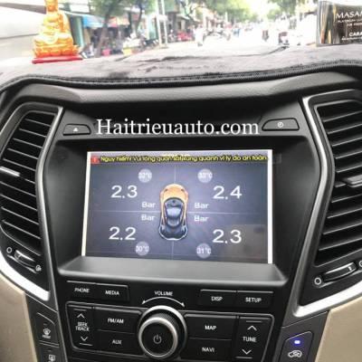 Cảm biến áp suất lốp SPY tích hợp màn hình DVD Hyundai Santafe 2017